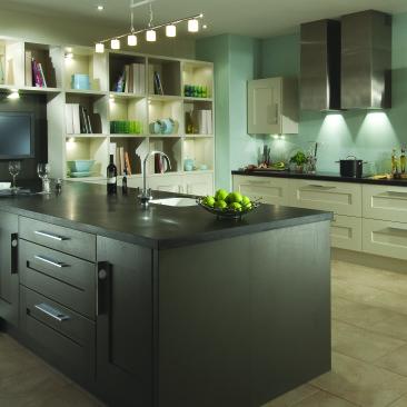 North Devon Kitchens | Kitchen Showrooms Barnstaple Bigbury Painted Lava & Mussel_Main