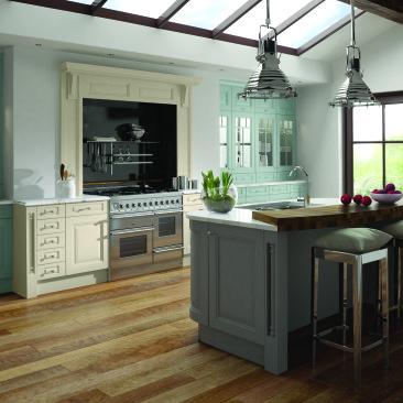North Devon Kitchens | Kitchen Designer North Devon Charnwood Alabaster Painted Powder Blue & Dust Grey_Main