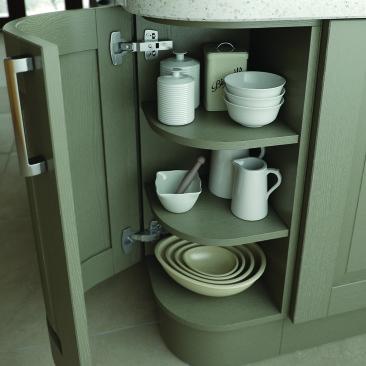 North Devon Kitchens | Kitchen Shops Barnstaple Yelverton Painted Olive_Curved Door Open