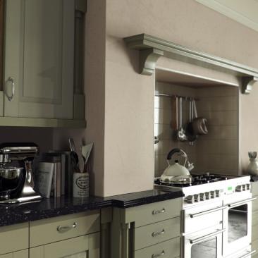 North Devon Kitchens | Barnstaple Kitchens Yelverton Painted Olive_Overmantle